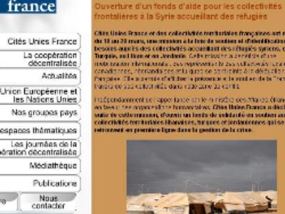 Syrie: Les collectivités territoriales françaises prêtent main forte aux collectivités accueillant des réfugiés